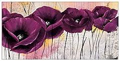 Idea Regalo - Artopweb Pannelli Decorativi Zacher-Finet Pavot Violet Ii Quadro, Legno, Multicolore, 100x1.8x50 cm