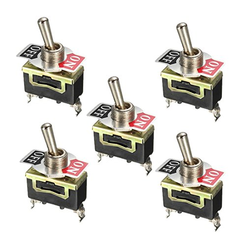 TOOGOO(R) 5pcs 12V Heavy Duty Toggle Flick Schalter ON / OFF Auto Schlaghitze Metall SPST 12 Volt -