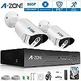 A-ZONE 960P POE Sicherheitsüberwachung Kamerasystem überwachungskamera set 4channel NVR + 2 Kameras 1.30Megapixel Bullet Wasserdichte CCTV Innen- / Außen-Nachtsicht Smartphone Fernansicht mit 1TB Festplatte