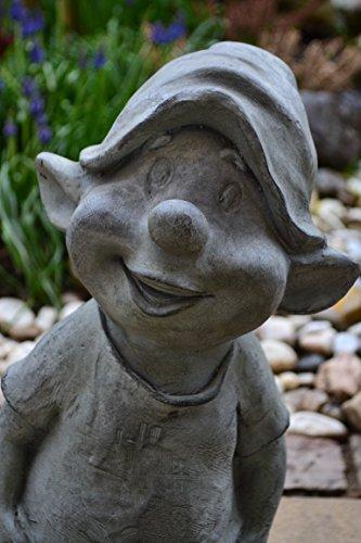 Gartenzwerg-Gartenwichtel, großer vorwitziger Garten-Zwerg-lustiger Gartentroll Fritz aus Poly-Stein – Höhe 42 cm – für Haus und Garten - 2