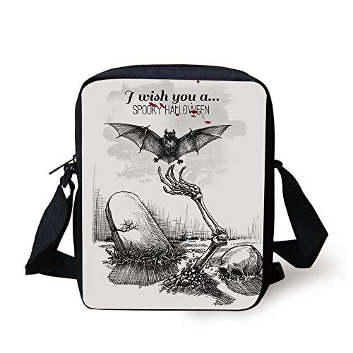 Halloween Decorations,Dead Skull Zombie Out Grave and Flying Bat Hand Drawn Spooky Picture,Black White Print Kids Crossbody Messenger Bag Purse