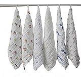 Lucear muslin baby bath washcloth (6-pack) with Hook, 12