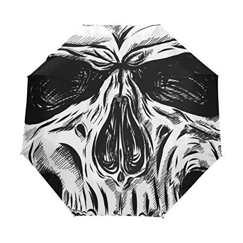 Duilly ombrello automatico,fine gotica del fronte del cranio di halloween vicino sull'illustrazione dello scheletro di anatomia diabolica di schizzo,ombrello pieghevole pieghevole antivento