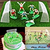 #9: JoyGlobal 6 Football Players 2 Goal Gate Cake Topper Cake Decorating Tool