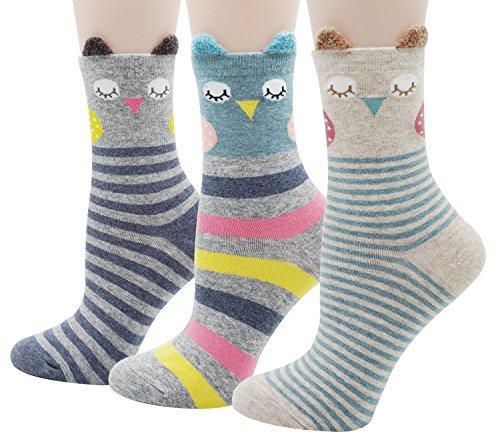 Bienvenu lindo animal calcetines calcetines de algodón casual de la muchacha de las mujeres 3 paquete, búho