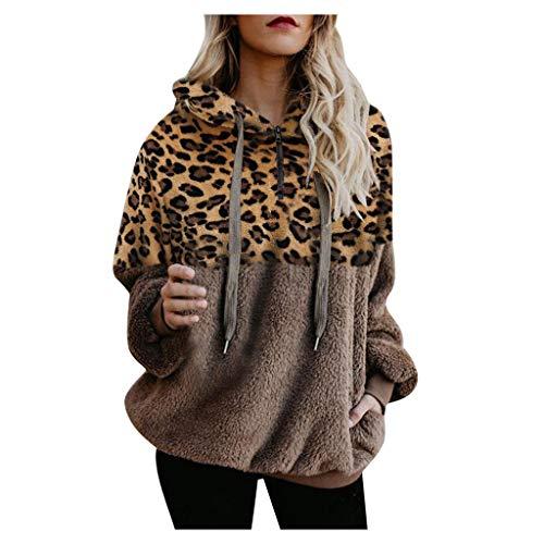 Lazzboy Sweatshirt Leopard Frauen Patchwork Langes Hülsen Pullover Hemd übersteigt Bluse Damen Hoodie Mädchen Kapuze Winterpullover Langarm Kapuzenpullover(Khaki,L) -