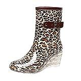 LvRao Frauen Absatzschuhe Stiefel mit Reißverschluss Wasserdichte Gartenschuhe | Damen Punkt-Muster Regen Boots Wellies Gummistiefeln Leopard Etikett 38, EU 38