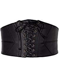 CHIC DIARY Cool Ceinture Punk à Taille Large Obi Élastique Corset Noir  Gothique Waist Training Slim 5ec7aa94826