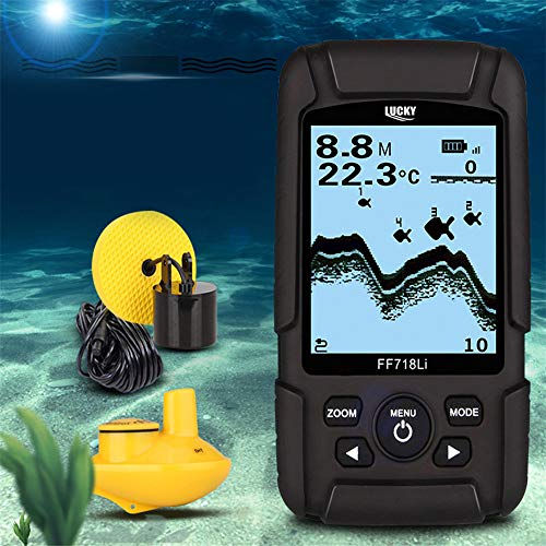 QUARKJK 100m Tiefe Fishfinder Sonar Transducer 2-in-1 Wired & Wireless Sensor Portable Waterproof Fish Finder FF718Li -