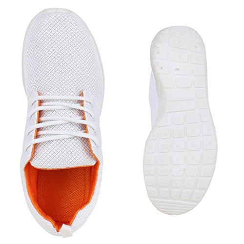 Damen Sportschuhe   Neon Laufschuhe   Runners Sneakers   Fitness Schnürer   Prints Blumen   Übergrößen Weiss Orange