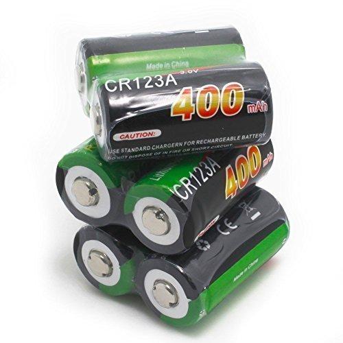 SUPEREX® 3V CR123A wiederaufladbare Photo Lithium-Ionon Akkus, 400mAh 16340 Rechargeable Lithium battery Batterie ladbare akkus für Taschenlampe,Kamera,Spielzeuge - 6er Pack
