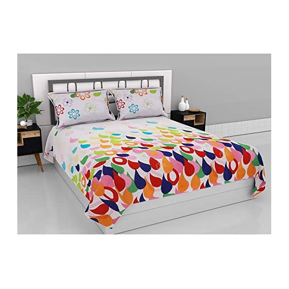 Aurome Microfiber (120 GSM) Queen Size Double Bedsheet with 2 Pillow Covers - Ditsy Paisley