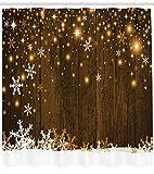 Abakuhaus Weihnachten Duschvorhang, Holz und Schneeflocken, Waserdichter Stoff mit 12 Haken Set Dekorativer Farbfest Bakterie Resistet, 175 x 200 cm, Braun Weiß