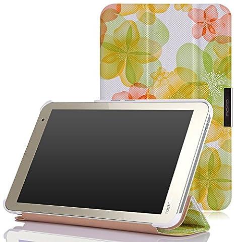MoKo Ultra Slim PU Leder Tasche Schutzhülle Ledertasche Hülle Lederhülle Folio Bumper Etui Smart Case Cover mit Standfunktion für TOSHIBA Encore 2 WT8-B32CN/B64CN 8 Zoll Windows 8.1 Tablet,Blumen-Grün