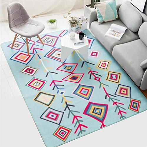 Motifs géométriques Doux Bleu Clair Rectangulaire Tapis de Style Scandinave Salon Table Basse Canapé Lit Respectueux de l'Environnement Domestique Décoratif Tapis