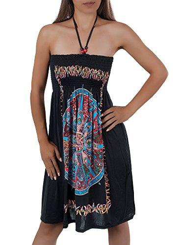 H112 Damen Sommer Aztec Bandeau Bunt Tuch Kleid Tuchkleid Strandkleid Neckholder F-029 Schwarz