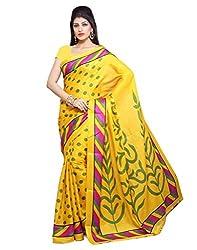 BuyOnn Women's Cotton Silk Saree With Blouse Piece(Party Wear Sarees_Multi-Coloured)
