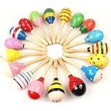 PIXNOR Maracas de madera huevo cocteleras de niños juguetes educativos Musical 20cm - 2Pcs (patrón de Color al azar)