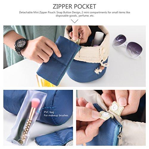 Multifunzionale a forma di botte da viaggio trousse + mini tasca con cerniera per gioielli + sacchetto in PVC trasparente per pennelli da trucco, grande capacità coulisse appeso toeletta borsa organiz Steelblue