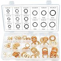 Kupfer Unterlegscheiben Dichtung Dichtring außen ø 10-24 mm innen-ø 5-18 mm 150-tlg. (im Aufbewahrungsbox/Sortimentsbox)