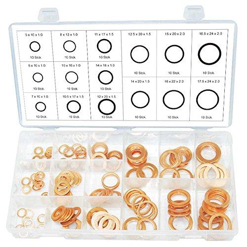 Cuivre Rondelles Joint bague d'étanchéité Ø extérieur 10-24 mm - Diamètre intérieur 5-18 mm 150 pièces Assortiment (dans une boîte de rangement/boîte)