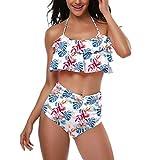 AIni Mutter und Tochter Bikini Set High Waist Push Up Bedrucken Volant Eltern-Kind Kleidung Familien Badeanzug Damen Bikini Mädchen(M,Weiß-Damen)