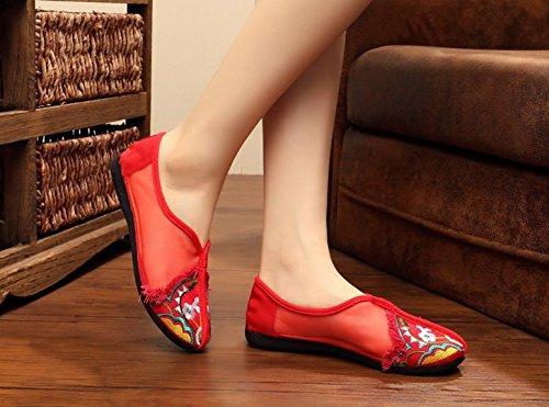 ZQ Feine bestickte Schuhe, Sehnensohle, ethnischer Stil, weibliche Schuhe, Mode, bequem, Tanzschuhe Sandalen Red