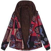 Luckycat Abrigo Mujer Invierno Rebajas Impreso más Grueso Chaqueta Suéter Abrigo Jersey Mujeres Talla Grande Suelto Hoodie Sudadera con Capucha Espesar Prendas de Cardigan Parka