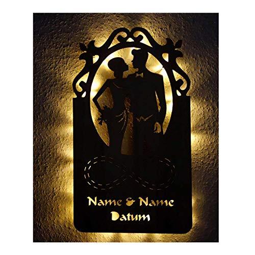 rlobungsgeschenke Hochzeitsgeschenk personalisiert mit Namen für das Brautpaar Paar I Led Deko Wandleuchte ()