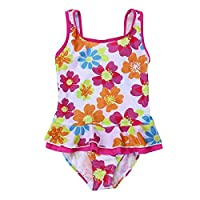 YiZYiF Kids Little Girls One-piece Floral Printed Summer Swimsuits Swimwear Beach Costume Colorful 1-2 Years