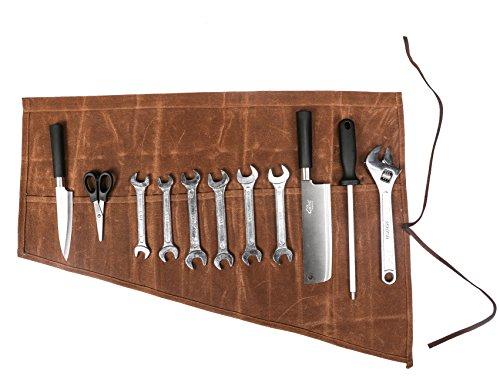 Wasserdicht gewachstem Canvas Handlich Mehrzweck-Meißel/Schraubendreher-/Schlüssel Pocket Tool Rolle Tasche Organizer Halter mit 16Taschen (hgj03-f)