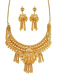[Sponsored]Variation Gold Plated Wedding Jewellery Necklace Set For Women - VD14962