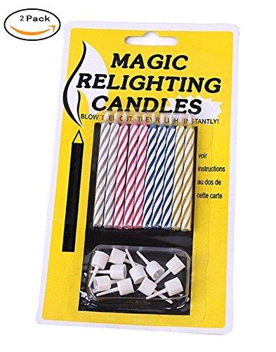 Touch Life Magische Kerzen mit Halter, nicht ausblasbare Geburtstagskerzen, plastik, Mehrfarbig, 2er-Packung