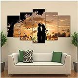 Toile Wall Art Pictures Home Decor 5 pièces sous le couple arbre coucher de soleil ombres peintures de paysages - 30x50 30x70 30x80cm (sans cadre)