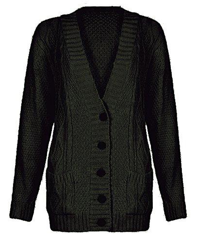 En tricot pour femme Motif diamant Hanger Cardigan Col en V à boutons Kaki