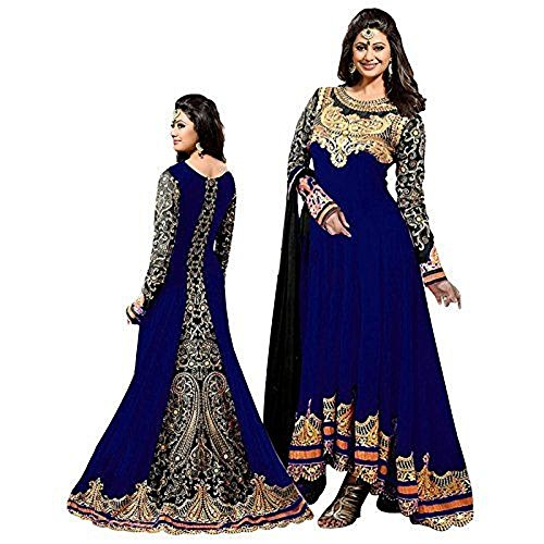 Women's Blue Color Georgette Embroidered Long Anarkali Semi-Stitched Salwar Suit  available at amazon for Rs.1099