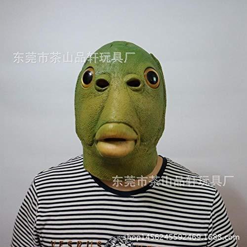 Kostüm Tier Beängstigend - SCLMJ Latex Maske Halloween,Lustige Neuheit Horror Hässliche Grüne Meerjungfrau Monster Tier Latex Maske, Unisex-Adult Maske Halloween Karneval Party Horror Kostüm Zubehör