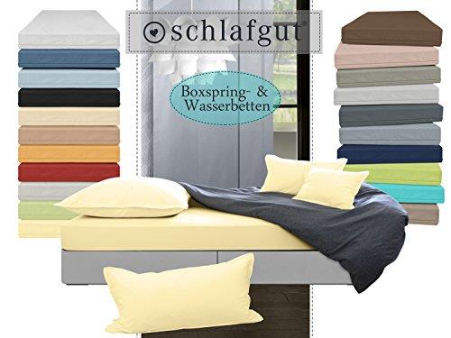 Jersey-Elasthan in exklusiver Qualität von schlafgut - Spannbetttuch für Wasser- und Boxspringbetten in 19 ausgesuchten Farben oder Kissenbezüge in 13 Farben, Spannbetttuch 180-200x200-220, kamille