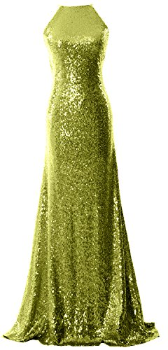 MACloth Women Halter Sequin Long Bridesmaid Dress Cowlback Evening Prom Gown Olive Green