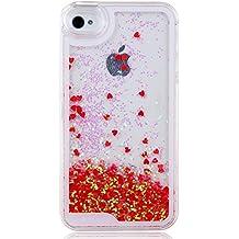 Funda para iPhone 4 4S, Case Cover para iPhone 4 4S, ISAKEN Best Selling Transparente Fluido Amor Corazon Bling Claro Lentejuelas Del Brillo Plástico Líquido Trasera Protección Case Cover Carcasa Funda para Apple iPhone 4 4S (Amor Rojo)