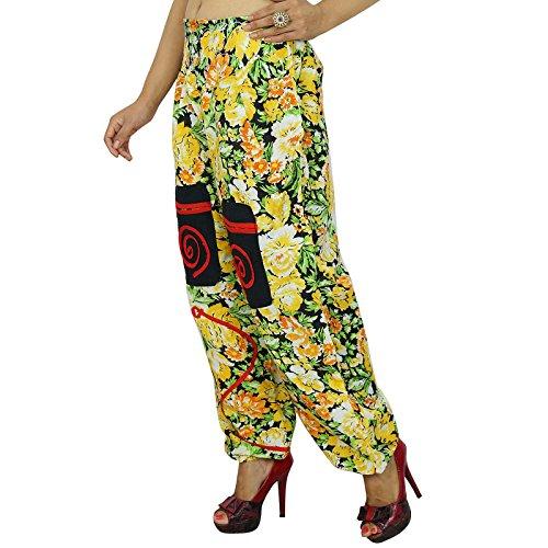 Harem Floral Coton Pantalon Taille Élastique Lâche Pyjamas Pantalon Jaune