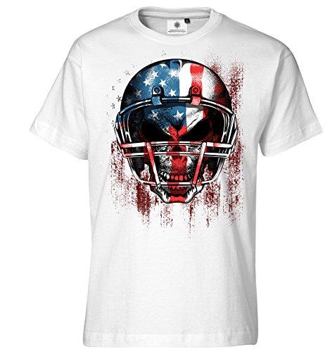 Customized by S.O.S Bedrucktes Herren T-Shirt American Football (L, Weiss)