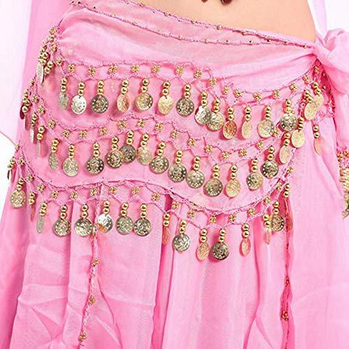 Gyratedream Lady Dance Wear Frauen Bauchtanz Hüfttuch Chiffon 3 Row Gürtel Rock Mit Gold Bauchtanz Ton Münzen Taille Kette Wrap Adult Dance Wear - Bauchtanz Hüfttuch Chiffon