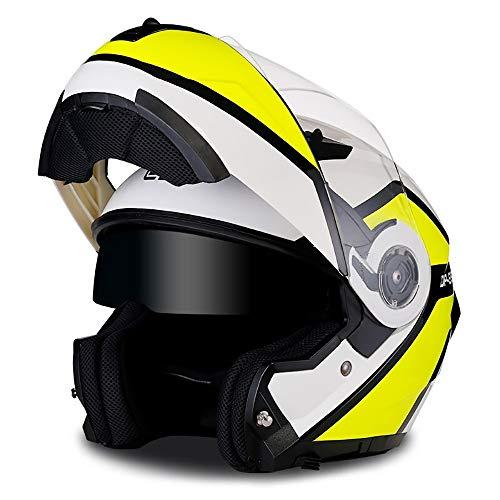 YAUUYA Klapphelm Integralhelm Helm Motorradhelm Motorrad Kollision Modular Flip Doppel Sonnenschutz Anti-Fog-Helm für Erwachsene Offroad-Motorrad-Cruiser-Chopper ECE-Zertifizierung,M/L/XL -