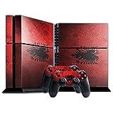 Flagge Albanien 2, Grunge, Designfolie Sticker Skin Aufkleber Schutzfolie mit Farbenfrohem Design für Playstation 4 CUH 1200