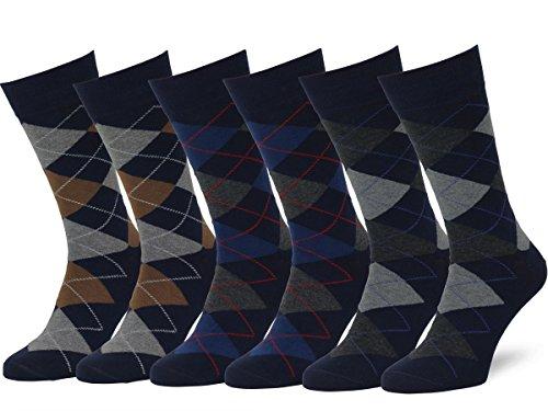 Easton Marlowe 6 Paar Fein Gemusterte Argyle Socken Herren - 6pk #2-10, dunkle Marine Blau - 43-46 EU Schuhgröße -