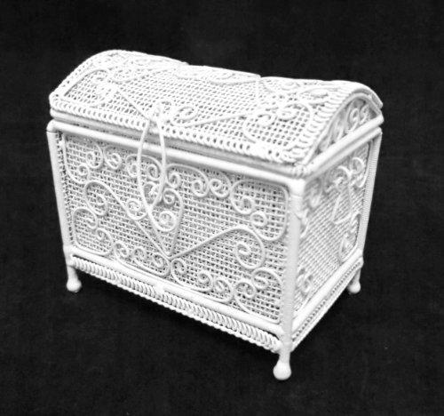 Puppenhaus Miniatur Möbel weißer Draht Schmiedeeisen Osmanisch trunk Truhe
