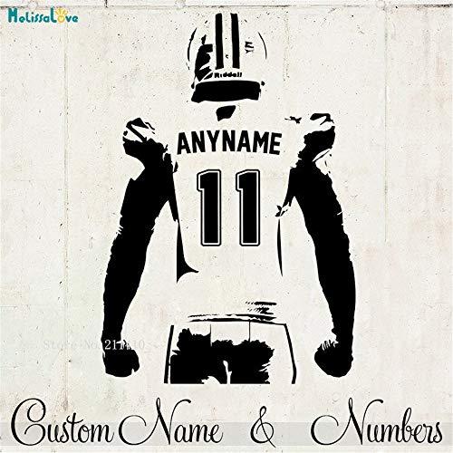 kleber Benutzerdefinierte Jersey Name und Nummer Decor Half Body American Football Spieler Vinyl Declas Jungen Zimmer 1 42 * 61 cm ()