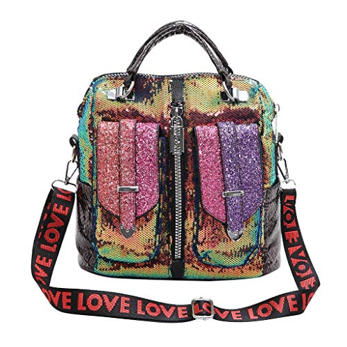 FBGood Mode Pailletten Rucksack, Damen PU Leder Taschen Studenten Schulranzen Großer Kapazität Reisetasche Schultaschen Handtasche Freizeit Umhängetasche