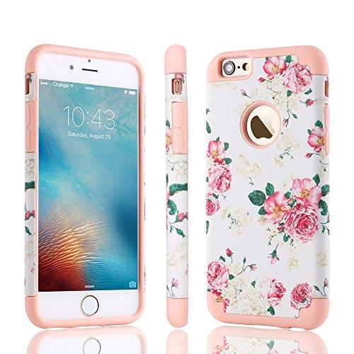 iPhone 6 Plus iPhone 6S Plus 5.5 Pouces Coque , LLZ.COQUE Rétro fleur Housse Étui Hybride Couche 2 Lourde en PC + Silicone dur Coque Couverture – Blanc